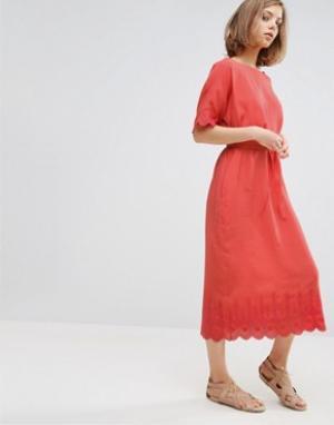 Vanessa Bruno Athé Платье миди с отделкой Athe. Цвет: красный
