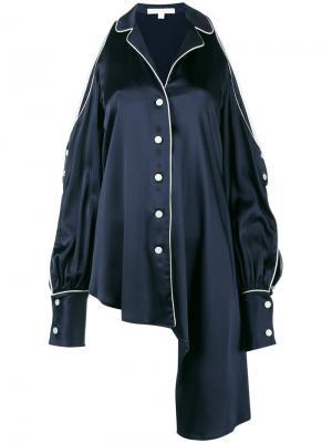 Асимметричная блузка с открытыми плечами Jonathan Simkhai. Цвет: синий