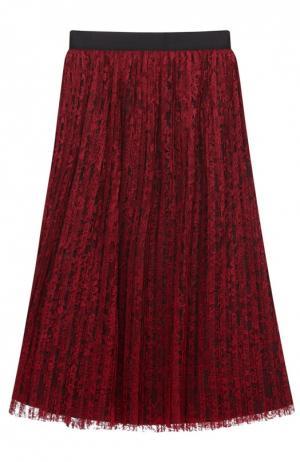 Кружевная плиссированная юбка-миди Alice + Olivia. Цвет: бордовый