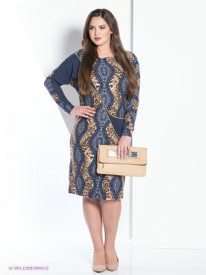 Платье МадаМ Т. Цвет: синий, коричневый