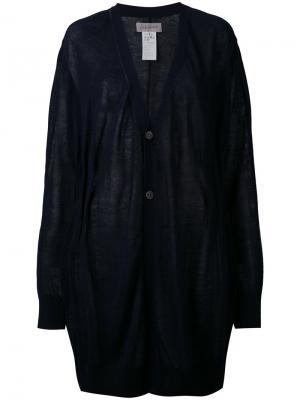 Свободный кардиган с V-образным вырезом Yohji Yamamoto. Цвет: синий