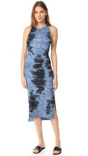 Миди-платье в рубчик без рукавов с разрезом сбоку Enza Costa. Цвет: темно-синяя патина