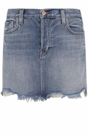 Джинсовая мини-юбка с необработанным краем J Brand. Цвет: синий