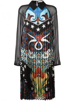 Плиссированное платье Fortune Mary Katrantzou. Цвет: чёрный