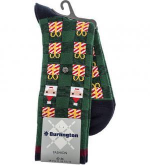 Зеленые хлопковые носки в клетку Burlington. Цвет: клетка