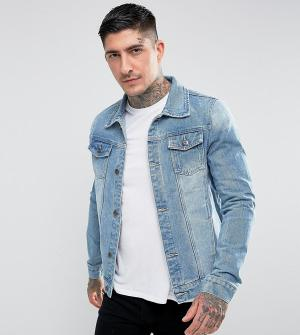 Liquor N Poker Классическая выбеленная джинсовая куртка. Цвет: синий