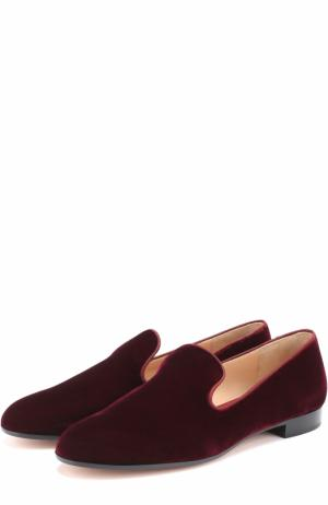 Бархатные слиперы на низком каблуке Gianvito Rossi. Цвет: красный