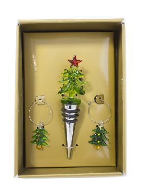 Набор аксессуаров для вина Елочка DEEPOT. Цвет: зеленый