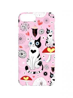 Чехол для iPhone 7Plus Кошки на розовом Арт. 7Plus-070 Chocopony. Цвет: розовый, белый, черный