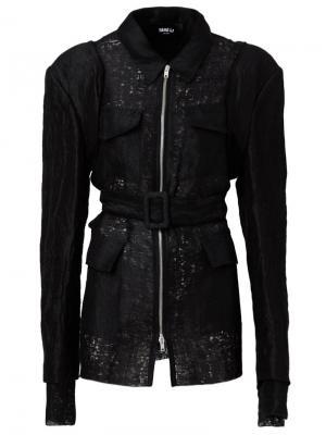 Приталенная куртка с поясом Yang Li. Цвет: чёрный