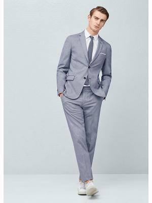 Пиджак MANGO MAN. Цвет: серый, серый меланж, серо-зеленый