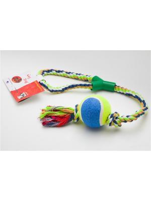 Игрушка канатная с теннисным мячом, 16,5 см Doggy Style. Цвет: синий, салатовый