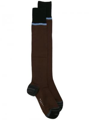 Носки в полоску колор блок Marni. Цвет: коричневый