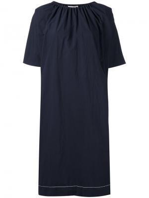 Платье со сборкой на горловине Hache. Цвет: синий