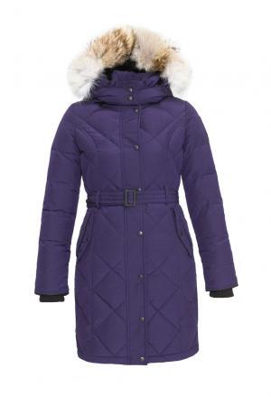 Пуховик с поясом и капюшоном KimberlyFW Arctic Bay. Цвет: фиолетовый