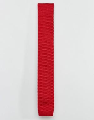7X Бордовый вязаный галстук. Цвет: красный