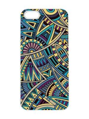 Чехол для iPhone 5/5s Мексиканский принт Арт. IP5-098 Chocopony. Цвет: темно-синий, серо-голубой, черный