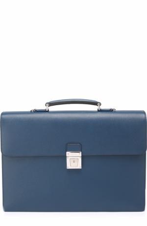 Кожаный портфель с внешним карманом на молнии и плечевым ремнем Serapian. Цвет: темно-синий