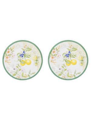 Набор из 2- тарелок Лимоны Elan Gallery. Цвет: белый, желтый, зеленый