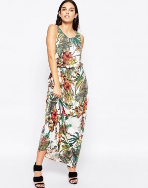 Club L Платье макси с завязкой на талии и ботаническим принтом. Цвет: кремовый