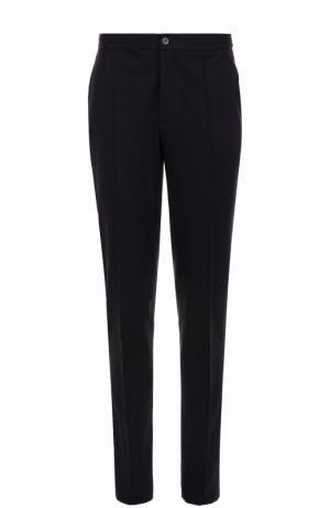 Шерстяные брюки прямого кроя с эластичным поясом Lanvin. Цвет: темно-синий