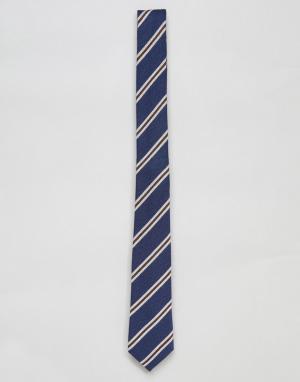 ASOS Узкий галстук в полоску DESIGN. Цвет: темно-синий