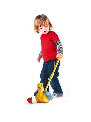 Каталка Веселый утенок для самых маленьких Quercetti. Цвет: красный, желтый, белый, черный, синий, зеленый