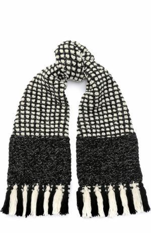 Шерстяной шарф с отделкой металлизированной нитью и бахромой 0711. Цвет: черно-белый