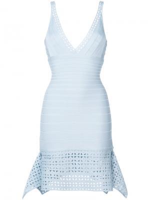 Платье с резной отделкой Hervé Léger. Цвет: синий