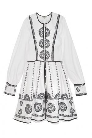 Платье с вышивкой Talitha. Цвет: белый, черный