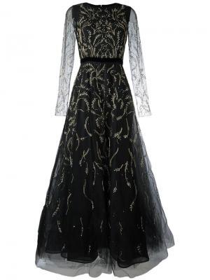 Платье из тюля с вышивкой Oscar de la Renta. Цвет: чёрный