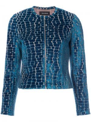 Куртка с эффектом крокодиловой кожи Yigal Azrouel. Цвет: синий