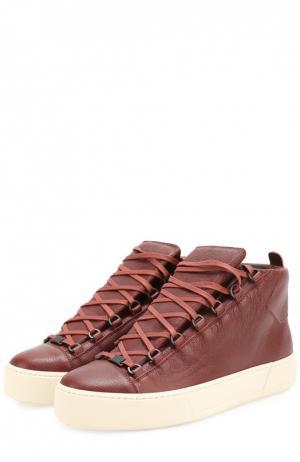 Высокие кожаные кеды на шнуровке Balenciaga. Цвет: красный