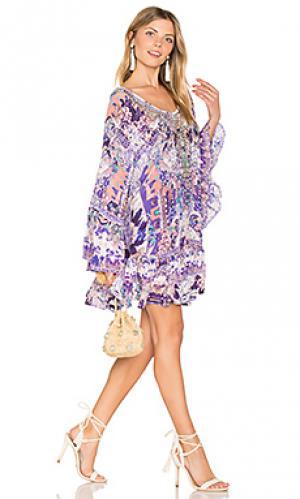 Свободное трапециевидное платье Camilla. Цвет: фиолетовый