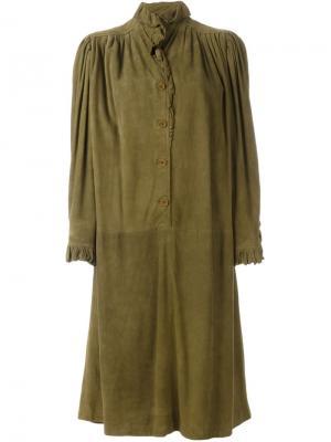 Платье с оборками Emanuel Ungaro Vintage. Цвет: зелёный