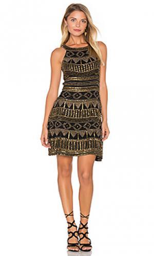 Мини платье с отделкой бисером mykonos Karina Grimaldi. Цвет: черный