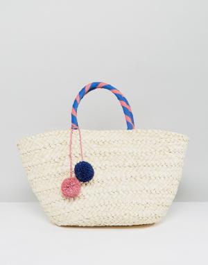 South Beach Пляжная соломенная сумка с помпоном. Цвет: бежевый