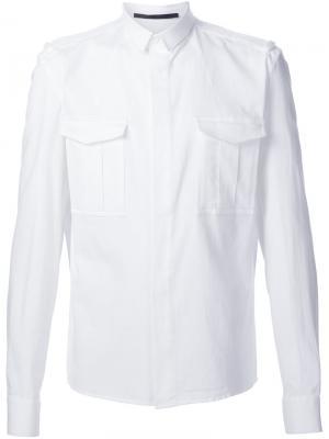 Рубашка в стиле милитари Haider Ackermann. Цвет: белый