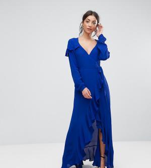 ASOS Tall Чайное платье макси с запахом и длинными рукавами. Цвет: синий