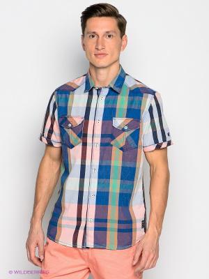 Рубашка GARCIA. Цвет: синий, коричневый, голубой