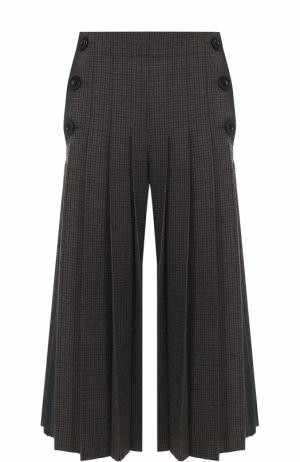 Укороченные широкие брюки со складками Sacai. Цвет: хаки