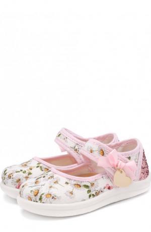 Текстильные туфли с застежками велькро и глиттером Monnalisa. Цвет: белый