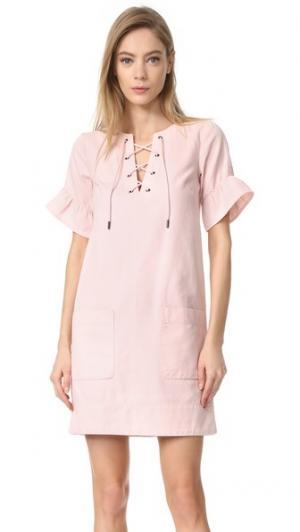 Кружевное платье Rosa с завязками спереди Whistles. Цвет: бледно-розовый