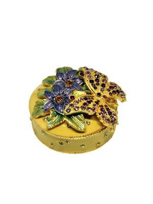 Шкатулка с бабочкой Yen Ten. Цвет: светло-бежевый, золотистый