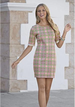Платье Y.O.U.. Цвет: розовый с рисунком