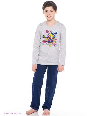 Комплект одежды Vienetta Secret. Цвет: темно-синий, серый меланж