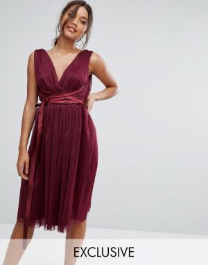 True Violet Платье миди из тюля с атласной лентой. Цвет: фиолетовый