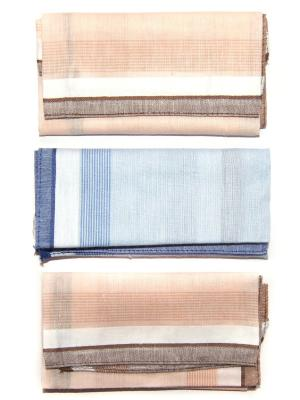 Носовой платок, 3 шт Lola. Цвет: синий, светло-коричневый