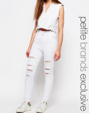 Waven Petite Потертые джинсы скинни с высокой талией Anika. Цвет: белый
