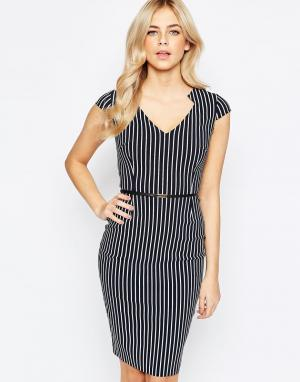 Vesper Платье-футляр в полоску с поясом. Цвет: мульти